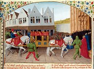 folio 442; Arrival of Emperor Charles IV at the Basilica St. Denis in 1378